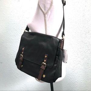 Handbags - NWT Black Vegan Leather Crossbody Laptop Bag